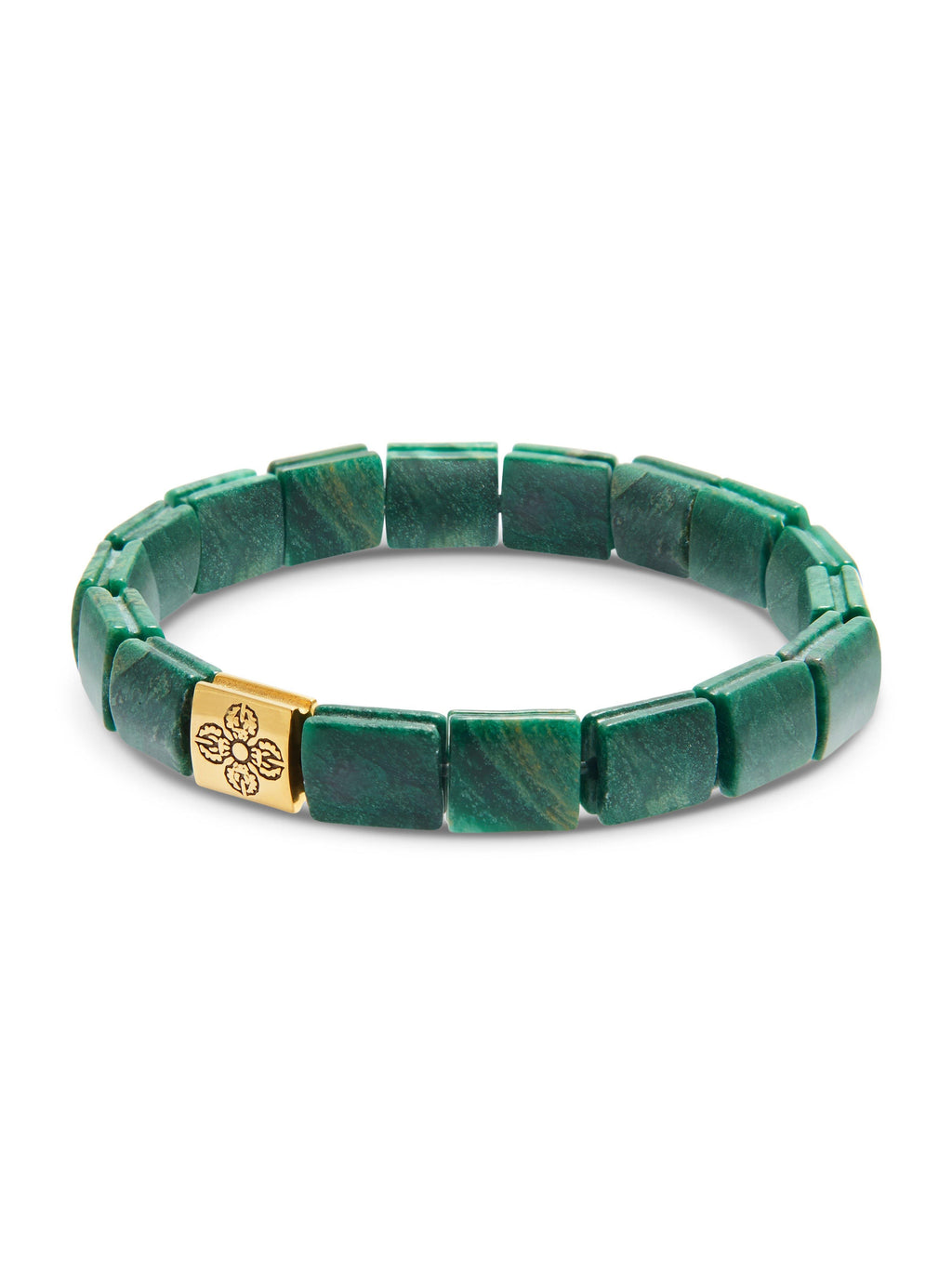 Men's Wristband with African Green Jade and Gold Dorje Flatbeads