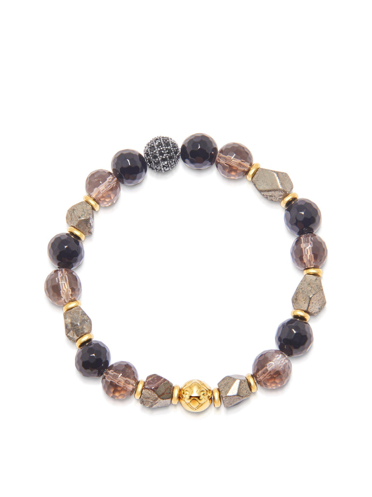 Women's Wristband with Iron Pyrite, Smokey Quartz and Agate