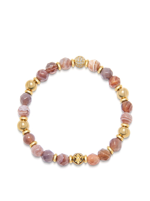 Women's Wristband with Botswana Agate and Gold
