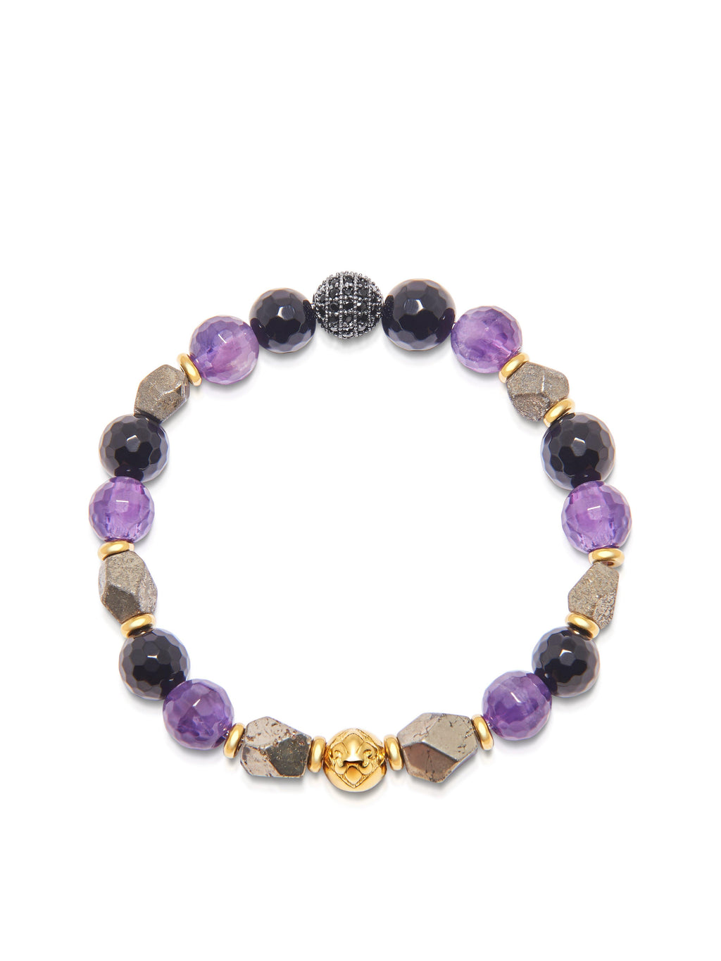 Women's Wristband with Agate, Amethyst and Iron Pyrite