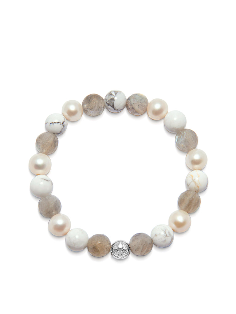 Women's Wristband with Howlite, Labradorite and Pearls