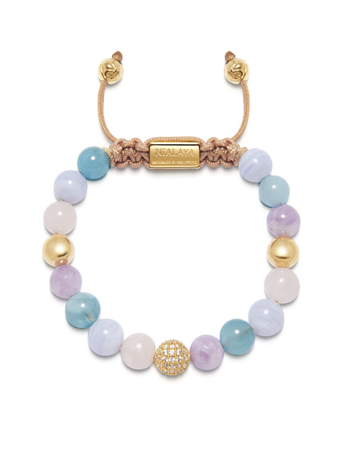 Women's Beaded Bracelet with Aquamarine, Blue Lace Agate, Rose Quartz, and Amethyst Lavender - Nialaya Jewelry