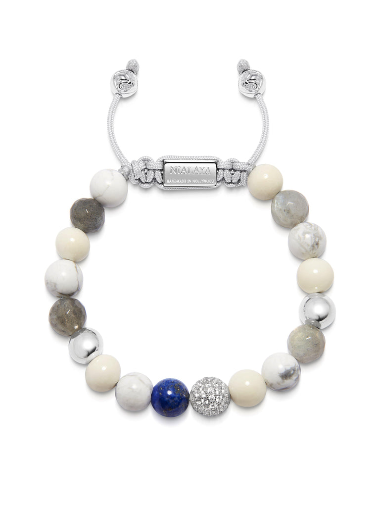 Women's Beaded Bracelet with Howlite, Labradorite, White Coral and Blue Lapis
