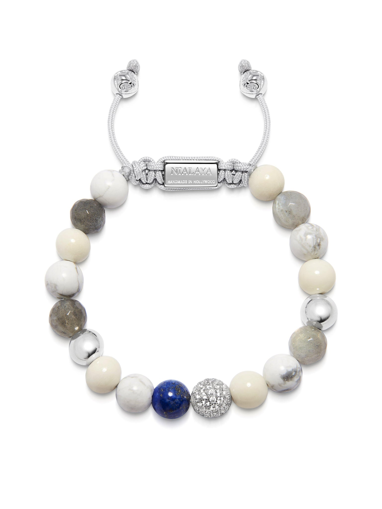 Women's Beaded Bracelet with Howlite, Labradorite, White Coral and Blue Lapis - Nialaya Jewelry