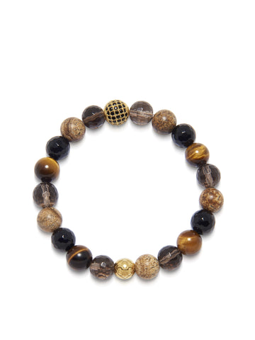 Women's Wristband with Brown Tiger Eye, Jasper, Agate and Smokey Quartz