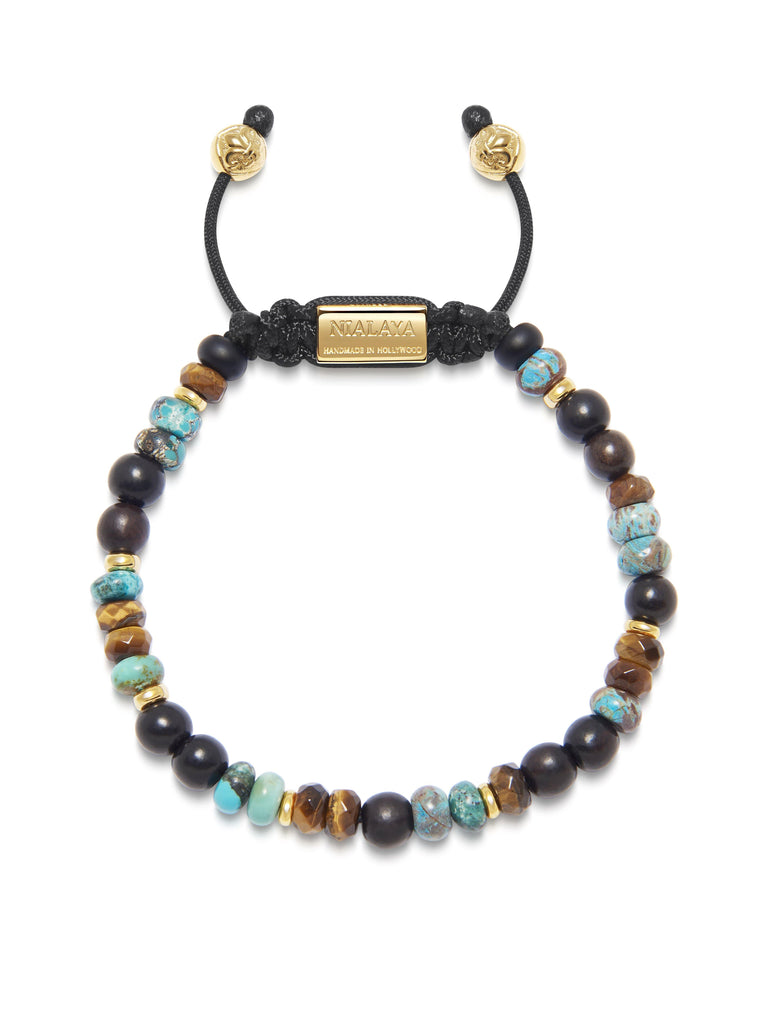 Men's Beaded Bracelet with Bali Turquoise, Brown Tiger Eye and Matte Onyx