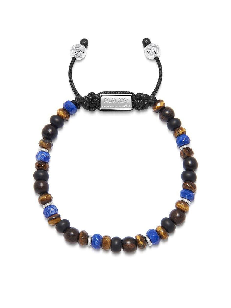 Men's Beaded Bracelet with Blue Lapis, Brown Tiger Eye and Ebony