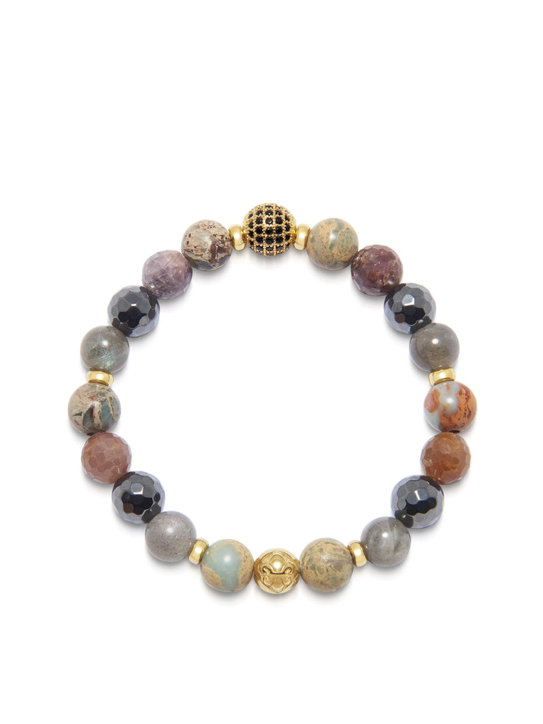 Women's Wristband with Hematite, Opal, Labradorite and Ruby