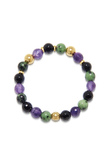 Women's Wristband with Amethyst, Agate and Ruby Zoisite