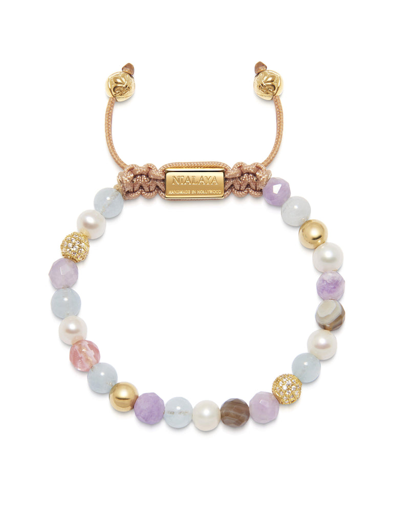Women's Beaded Bracelet with Aquamarine, Amethyst Lavender, Cherry Quartz, Pearls and Botswana Agate