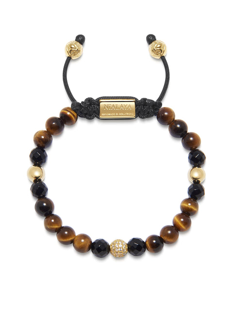 Women's Beaded Bracelet with Brown Tiger Eye, Agate and Gold - Nialaya Jewelry