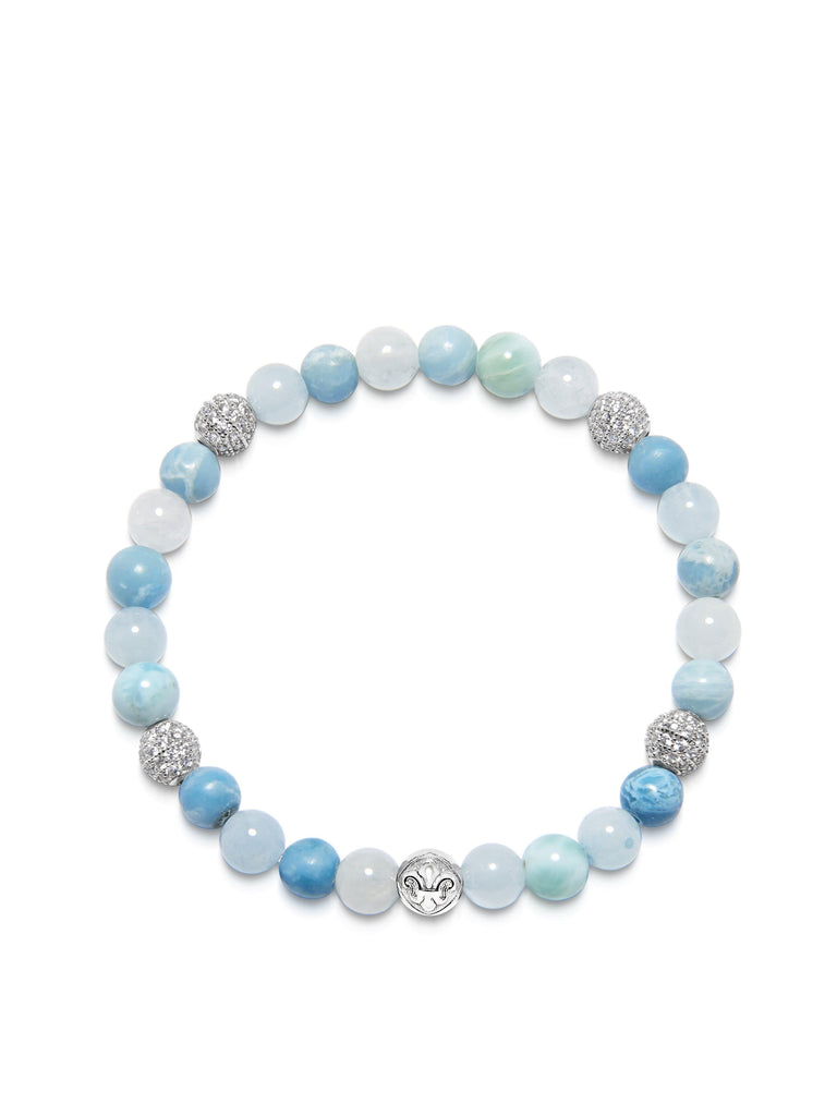 Women's Wristband with Aquamarine, Larimar and Silver