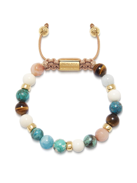 Women's Beaded Bracelet with Bali Turquoise, White Coral, Brown Tiger Eye and Pink Adventurine - Nialaya Jewelry