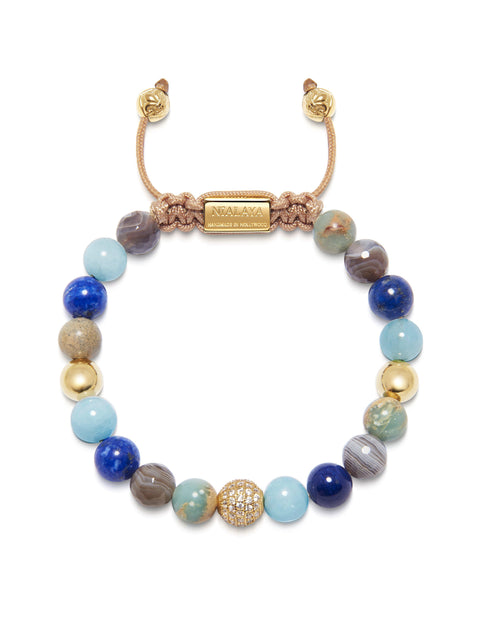 Women's Beaded Bracelet with Aquamarine, Blue Lapis, Opal, and Botswana Agate - Nialaya Jewelry