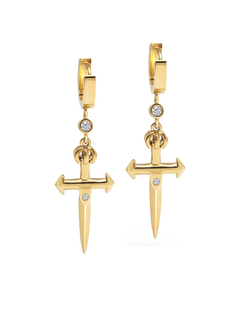 Skyfall Small Sword Earrings in Gold