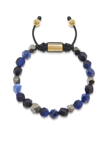 The Squared Bead Collection - Faceted Blue Lapis, Matte Onyx and Iron Pyrite
