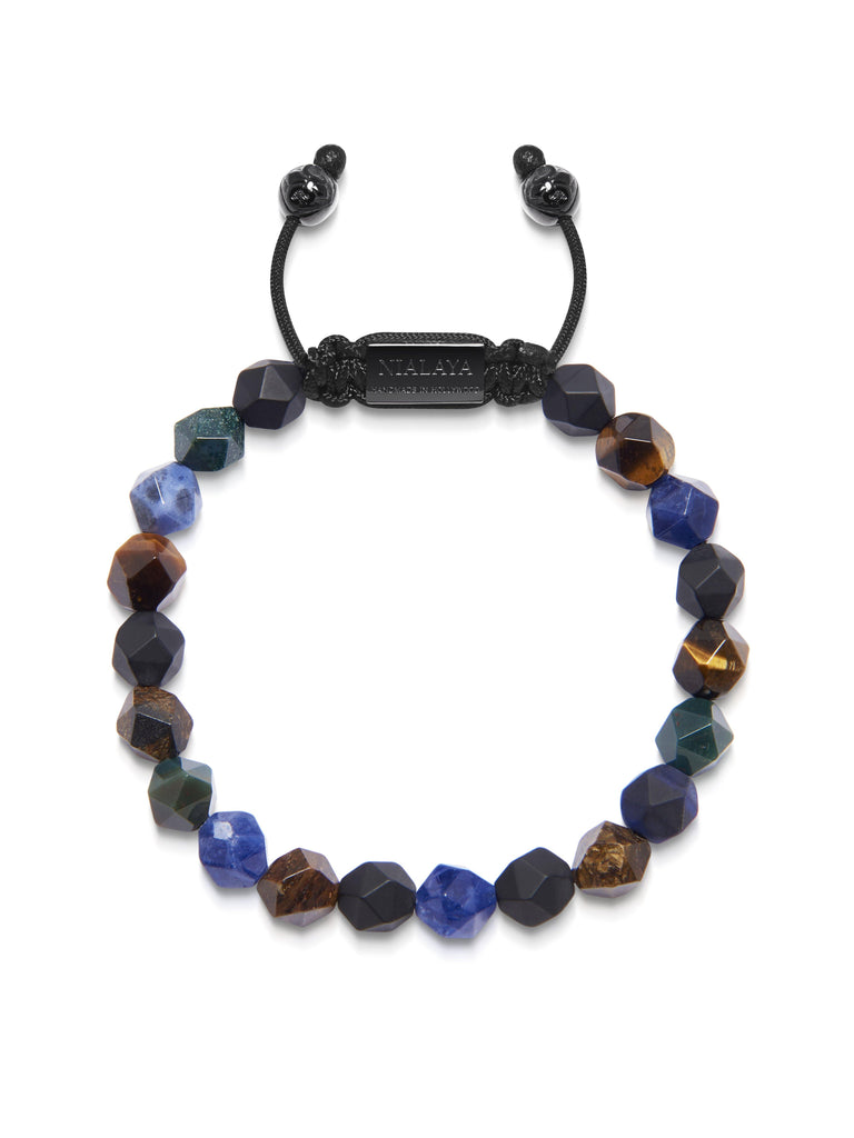 The Squared Bead Collection - Faceted Blue Lapis, Brown Tiger Eye, Matte Onyx and Green Bloodstone