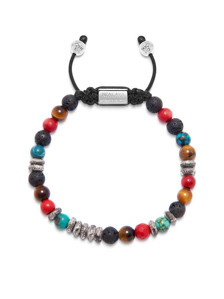 Men's Beaded Bracelet with Brown Tiger Eye, Lava Stone, Bali Turquoise, Red Jade and Silver Beads