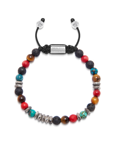 Men's Beaded Bracelet with Brown Tiger Eye, Lava Stone, Bali Turquoise, Red Jade and Silver Feather Beads