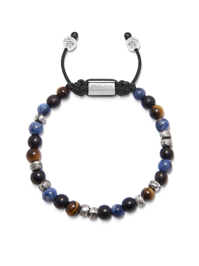Men's Beaded Bracelet with Brown Tiger Eye, Ebony and Blue Dumortierite with Silver Beads
