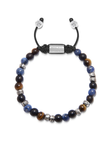 Men's Beaded Bracelet with Brown Tiger Eye, Matte Onyx and Blue Dumortierite with Silver Beads