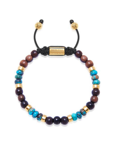 Men's Beaded Bracelet with Ebony, Bali Turquoise and Gold - Nialaya Jewelry