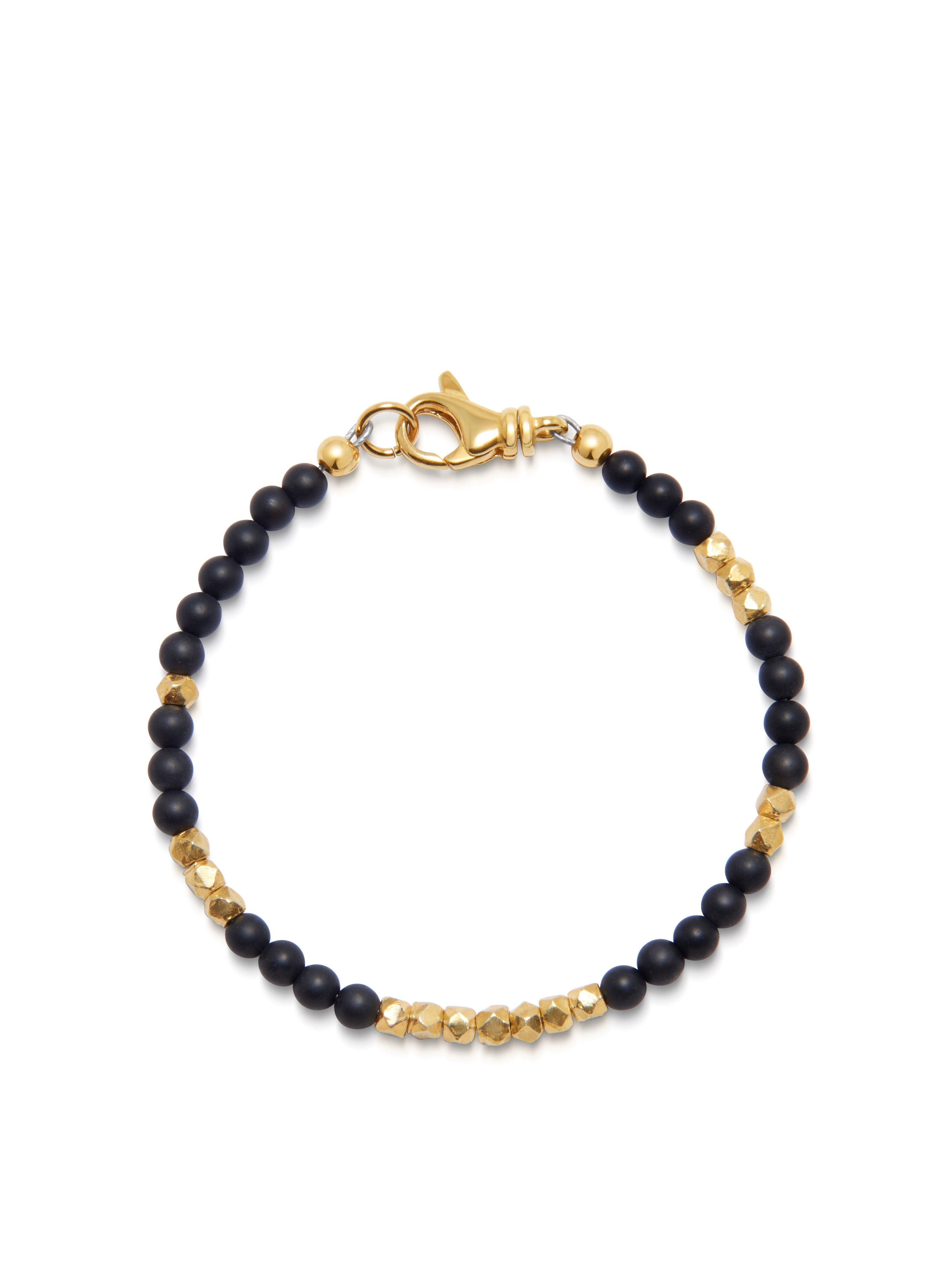 Men's Wristband with Matte Onyx and Gold