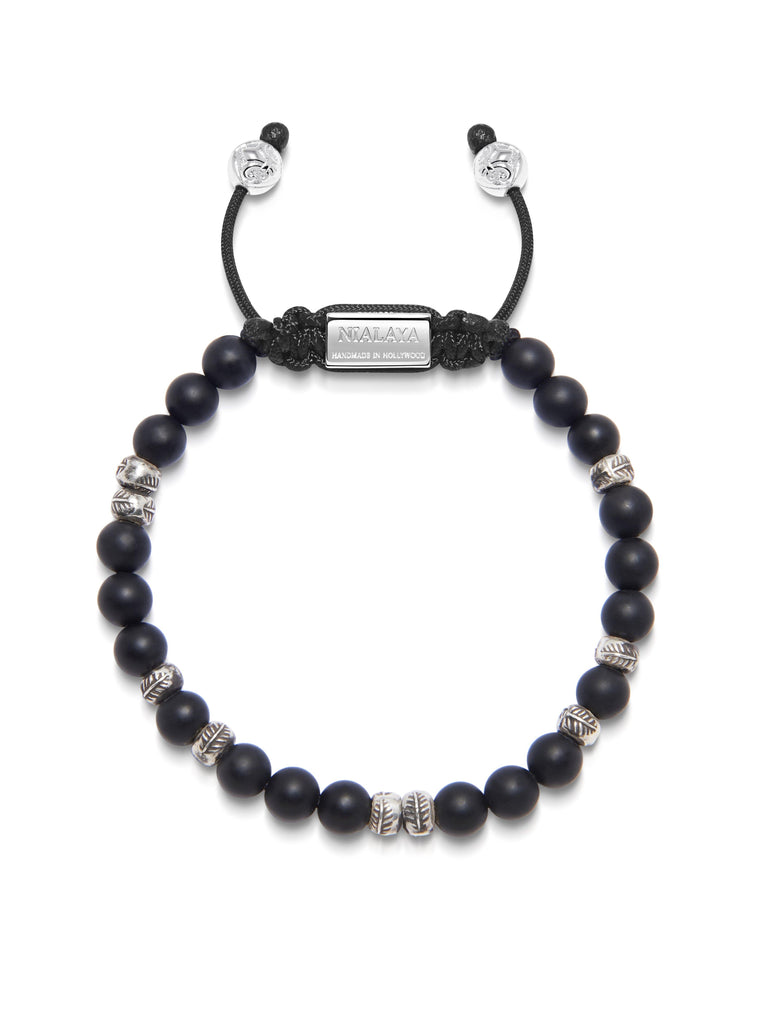 Men's Beaded Bracelet with Matte Onyx and Silver Beads