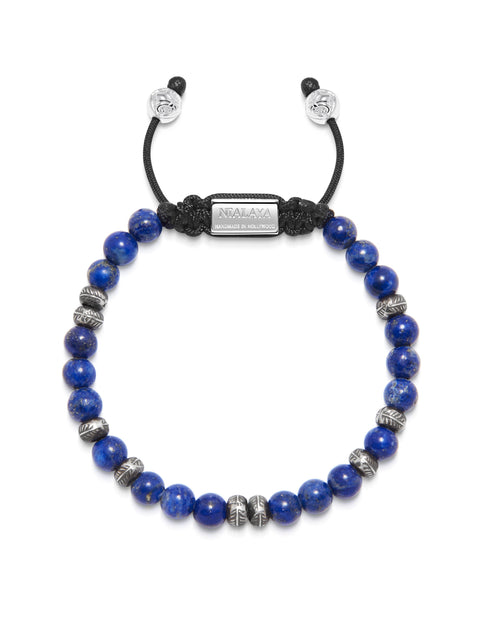Men's Beaded Bracelet with Blue Lapis and Silver Beads