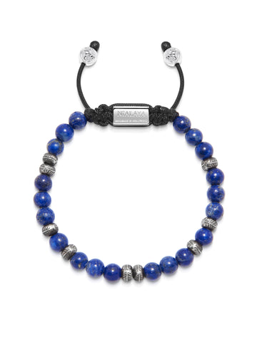 Men's Beaded Bracelet with Blue Lapis and Silver Feather Beads