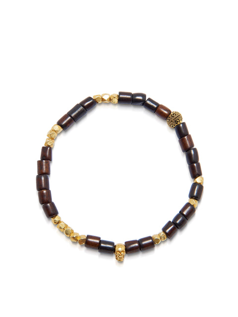 Men's Wristband with Dark Brown Buffalo Beads and Gold