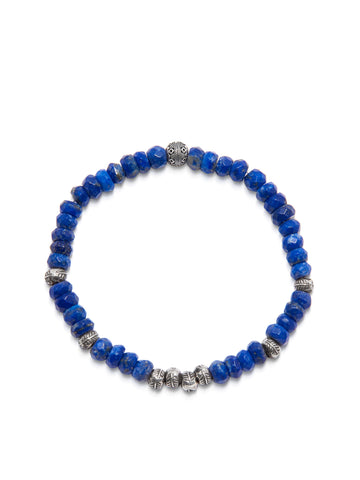 Men's Wristband with Faceted Blue Lapis and Silver Feather Beads