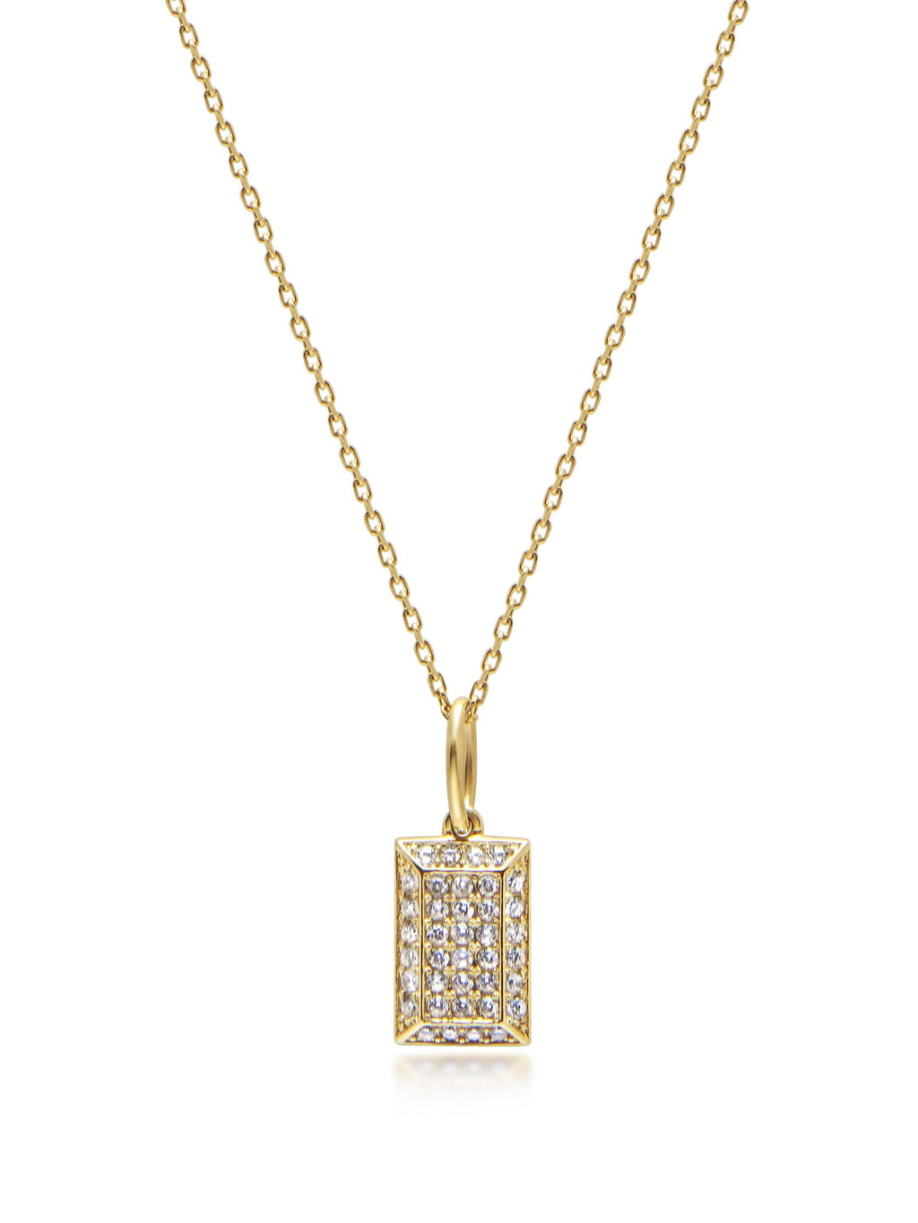 Gold CZ Tag Necklace