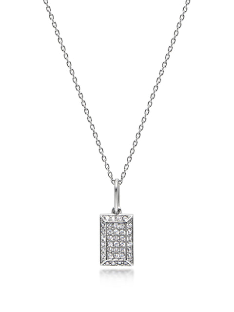 Silver CZ Tag Necklace