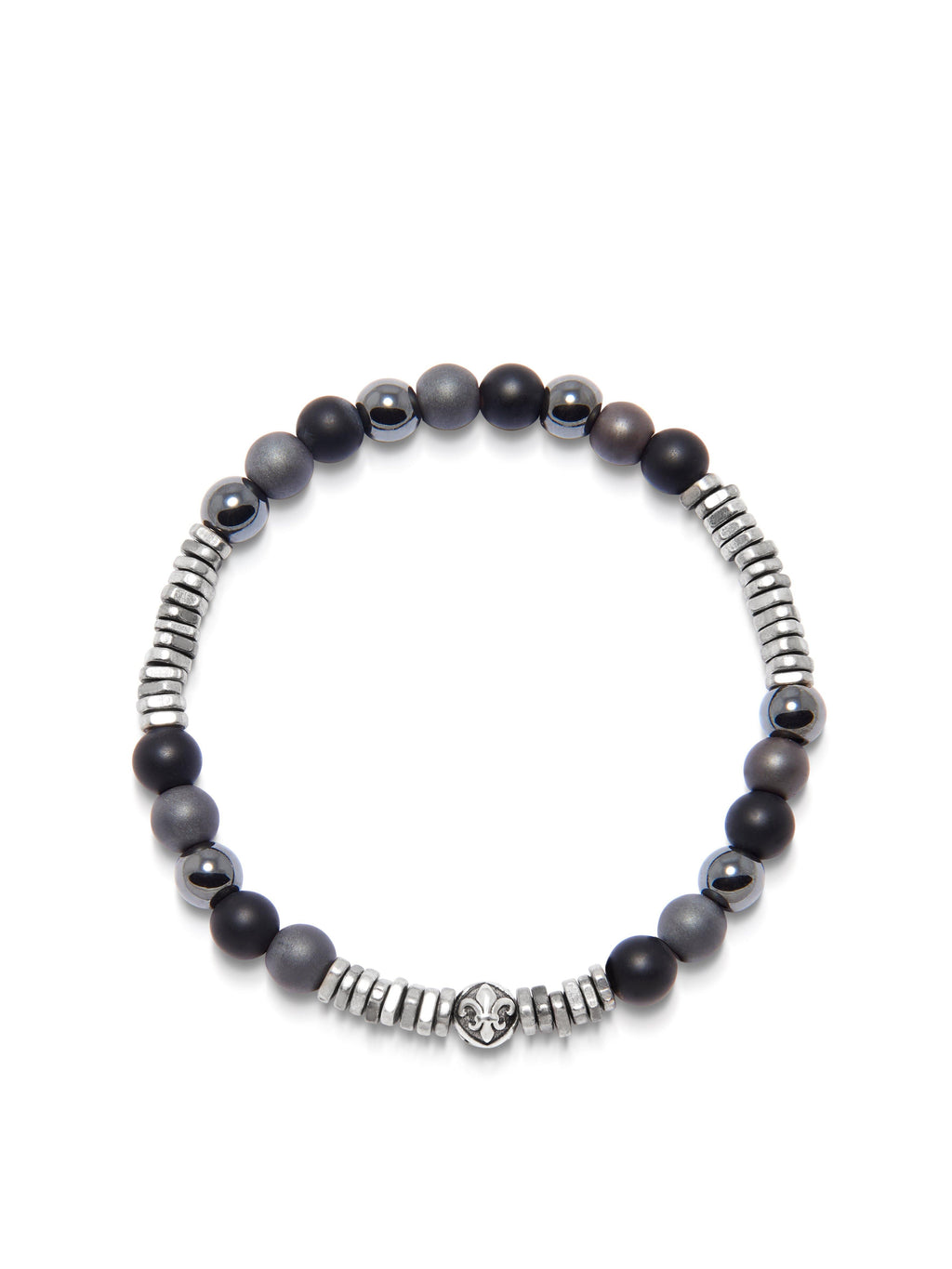 Men's Wristband with Hematite, Matte Onyx, and Silver Disc Beads