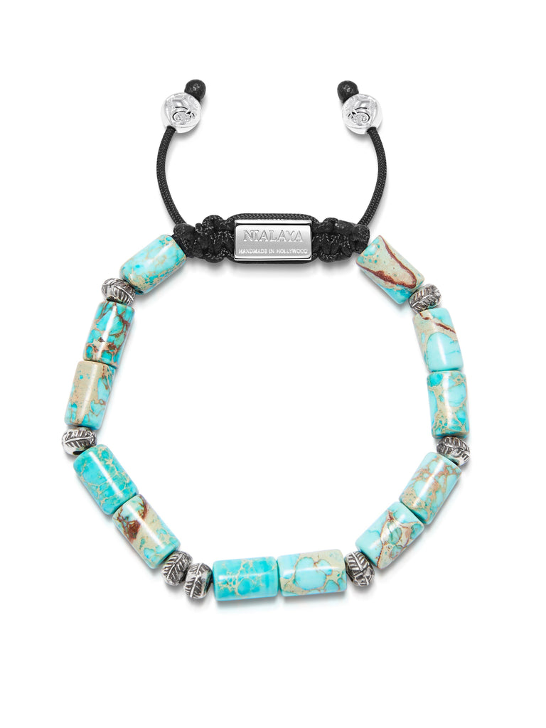 Men's Beaded Bracelet with Turquoise Tube Beads and Silver