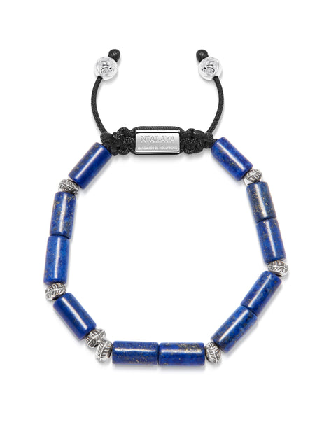Men's Beaded Bracelet with Blue Lapis Tube Beads and Silver