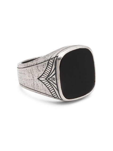 Men's Vintage Sterling Silver Cocktail Ring with Matte Onyx - Nialaya Jewelry