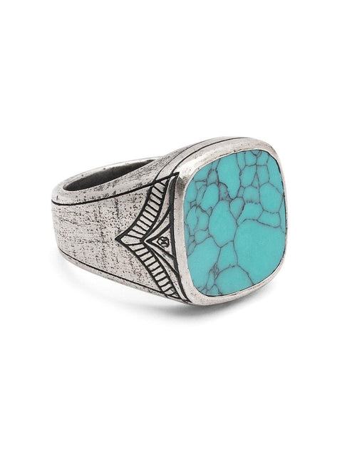 Men's Vintage Sterling Silver Cocktail Ring with Genuine Turquoise - Nialaya Jewelry
