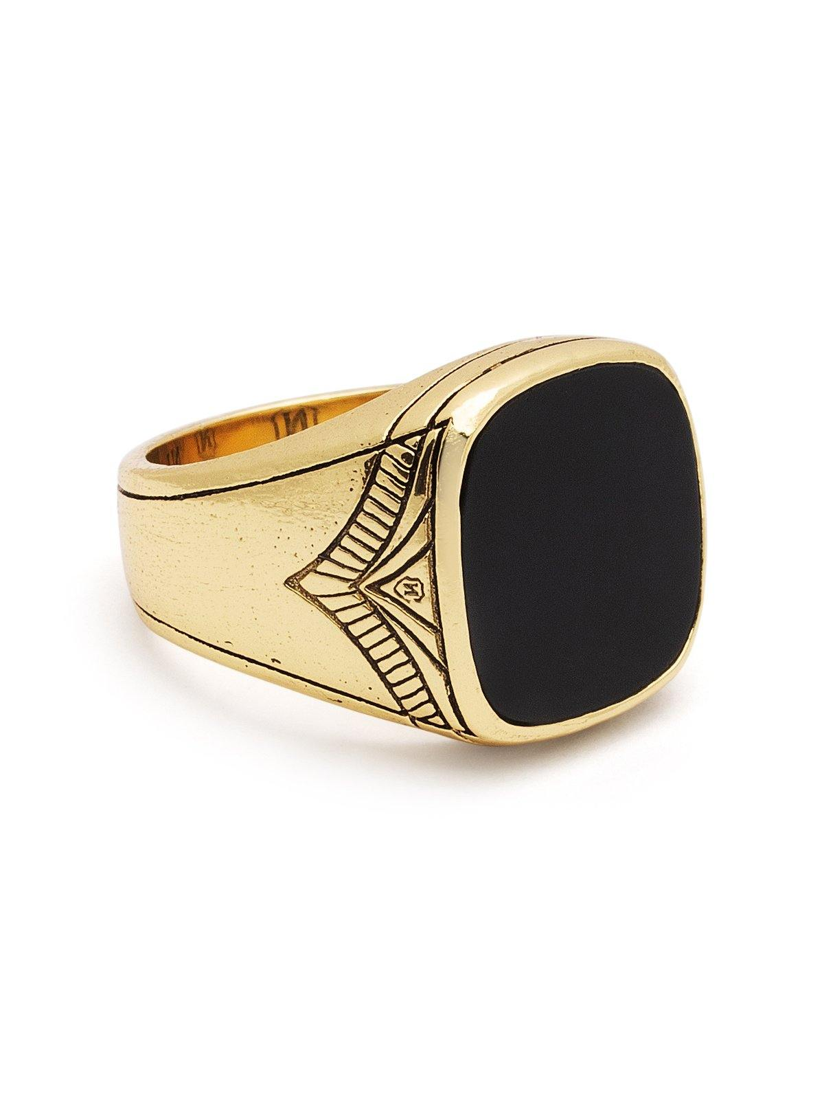 Men's Vintage Gold Sterling Silver Cocktail Ring with Matte Onyx - Nialaya Jewelry