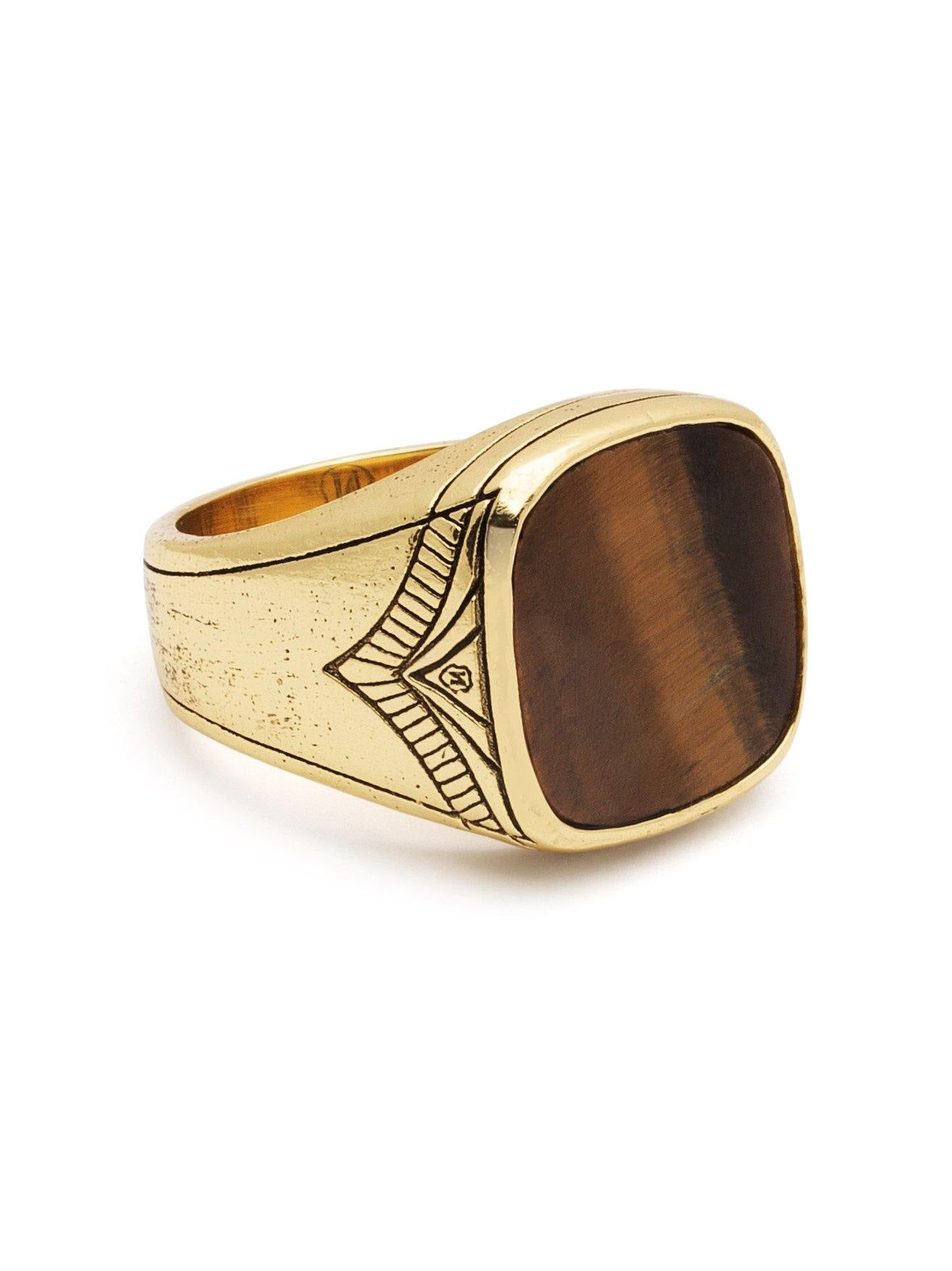 Men's Vintage Gold Sterling Silver Cocktail Ring with Brown Tiger Eye - Nialaya Jewelry