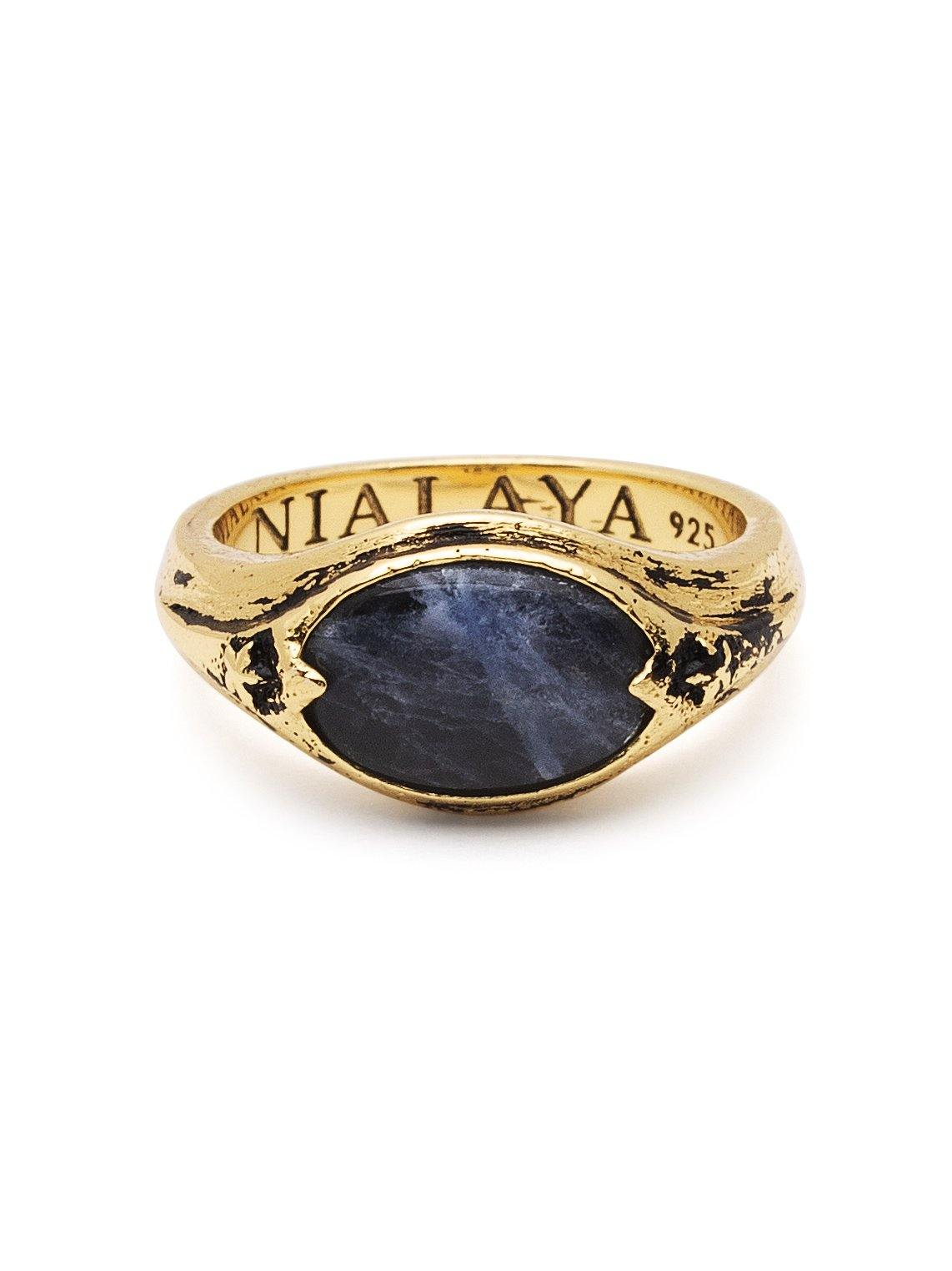 Men's Vintage Gold Signet Ring with Blue Dumortierite - Nialaya Jewelry