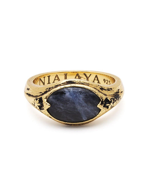 Men's Vintage Gold Signet Ring with Blue Dumortierite