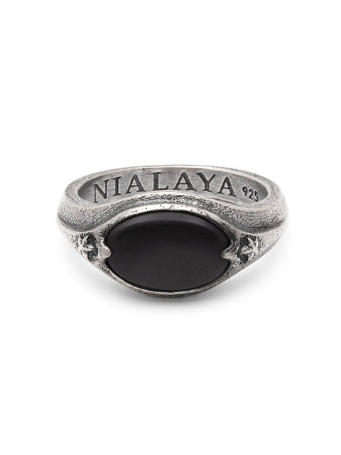Men's Sterling Silver Signet Ring with Matte Onyx - Nialaya Jewelry