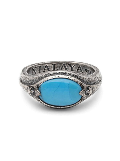 Men's Sterling Silver Signet Ring with Genuine Turquoise - Nialaya Jewelry