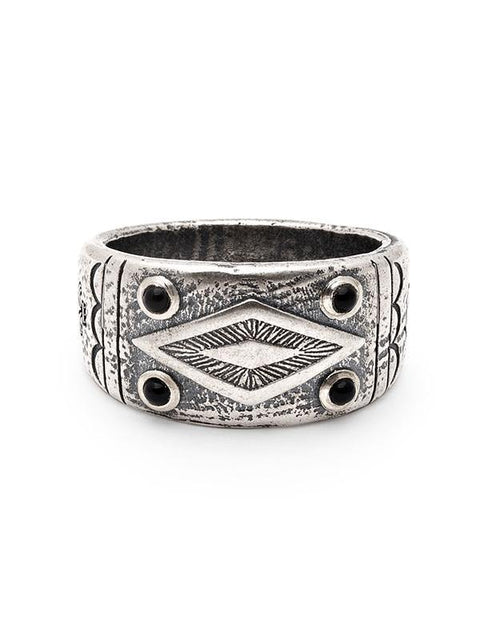 Men's Engraved Vintage Silver Ring with Matte Onyx - Nialaya Jewelry