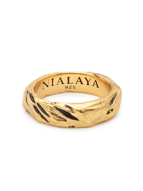 Men's Carved Vintage Gold Ring - Nialaya Jewelry