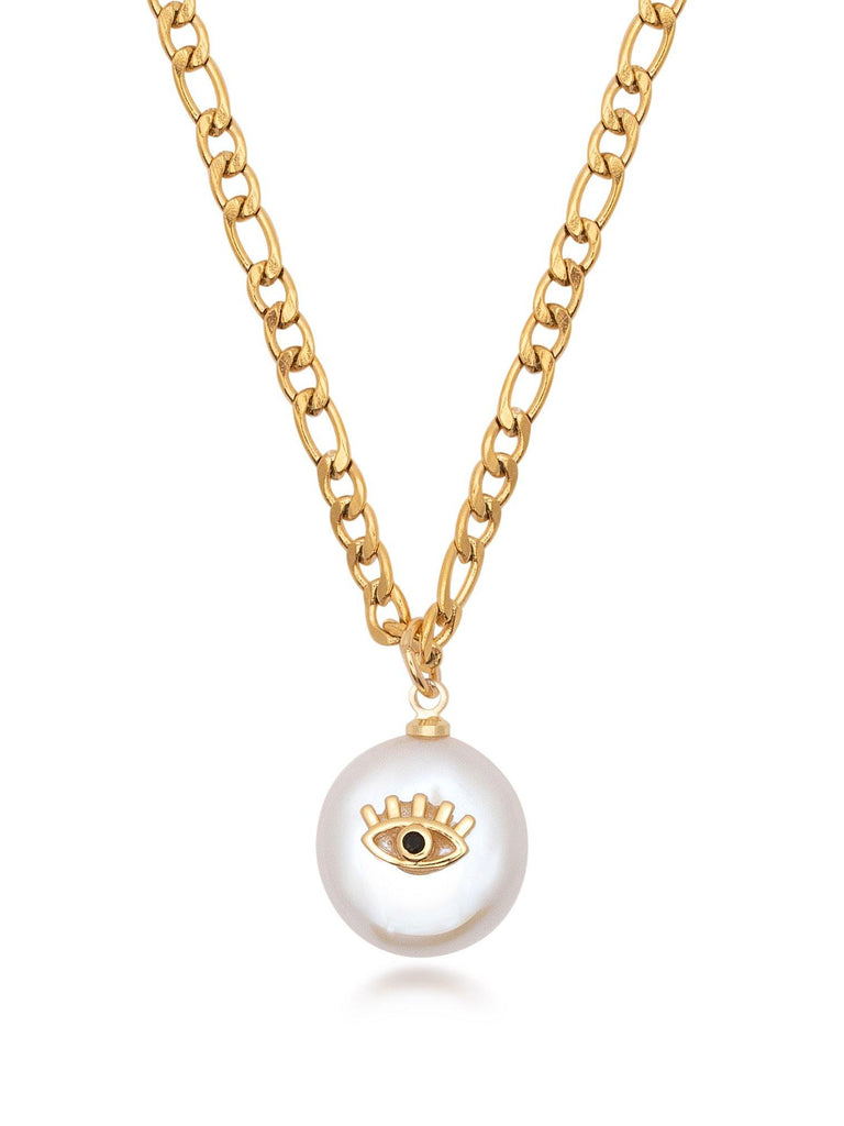 Skyfall Evil Eye Pearl Necklace in Gold - Nialaya Jewelry
