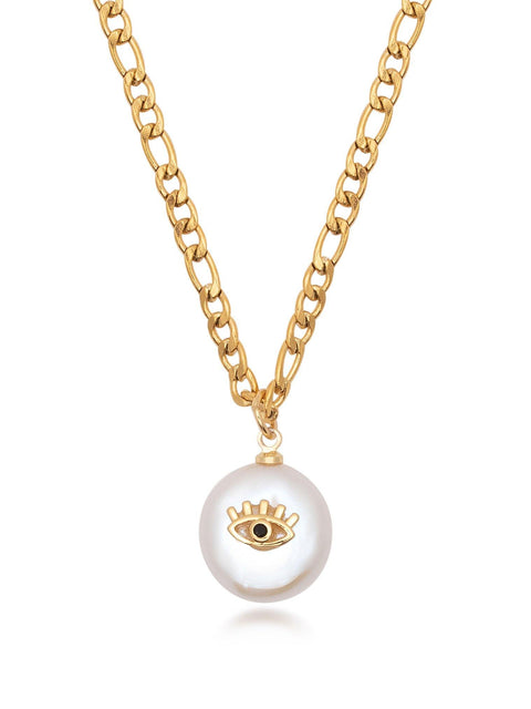 Skyfall Evil Eye Pearl Necklace in Gold