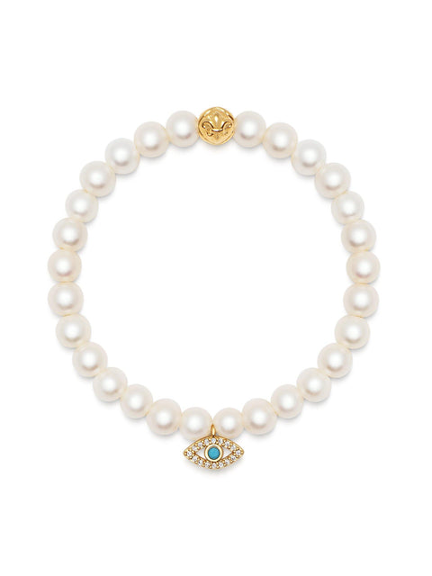 Women's Wristband with White Pearls and Gold CZ Evil Eye Charm